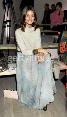 Olivia Palermo wearing Matthew Williamson Pre-Fall 2011 Sweater in Grey, Topshop Premium Blue Skeleton Leaf Print Pleated Maxi Skirt, Zara Lace-Up Boots and Victor Hugo Clutch.