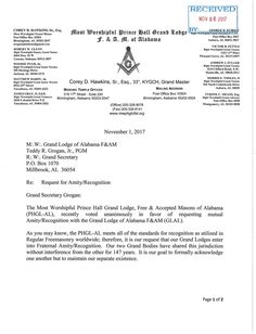 Nov. 1, 2017 - The Grand Lodge of Free & Accepted Masons in Alabama vote unanimous for recognition of the Most Worshipful Prince Hall Grand Lodge of Free & Accepted Masons in Alabama Pg. 1 of 2