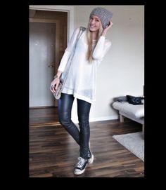 Leather skinny leggings
