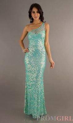 Primavera One Shoulder Sequin Prom Dress, Open Back Gown-PromGirl