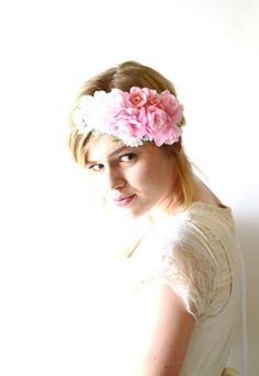 Pink Flower Crown, Floral Crown, Floral Wreath, Headband, Bridal Headpiece, Bridal Hair Accessories, Pink, Light Pink - AMOUR on Wanelo