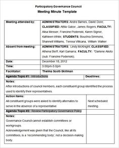minutes for meeting format