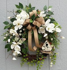 Spring Wreath, Summer Wreath, Magnolia Wreath,  Birdhouse Wreath, Southern Charm, Green and White Wreath, Cottage Chic, Easter, Mother's Day by TheChicyShackWreaths on Etsy