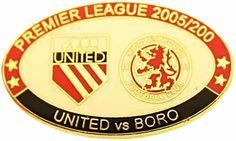 United v Middlesbrough Premier Match Oval Metal Badge 2005-2006 RW