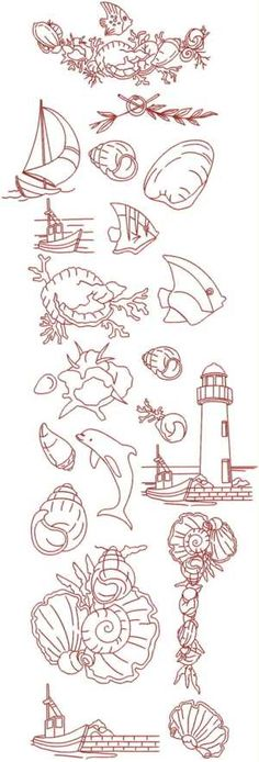 *Advanced Embroidery Designs - Nautical Redwork Set