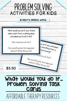 $3.50 ·  If you're looking for speech therapy activities to work on problem solving activities skills for kids, these task cards are just what you are looking for.  This is a NO prep speech therapy activity: Buy now, print and you are ready to go!  Find this and MANY more therapy resources for kids at Misty's Speech World. Buy now: to purchase this set, click on this pin, purchase, download and add this therapy resource to your therapy toolkit!