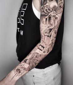 Weird Tattoos, Mini Tattoos, Unique Tattoos, Leg Tattoos, Body Art Tattoos, Sleeve Tattoos, Back Of Arm Tattoo, Full Back Tattoos, Geometric Realism Tattoo