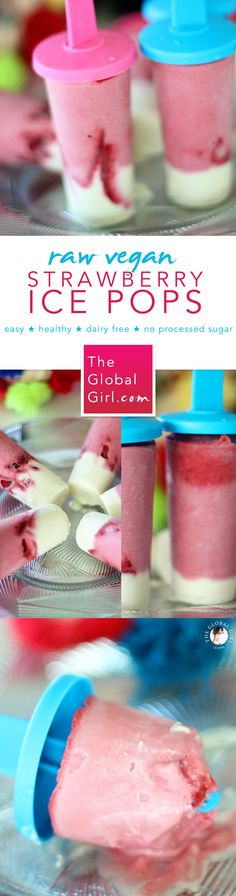 The Global Girl Raw Food Recipes: Celebrate Summer with these kid-approved strawberry ice pops! These fun fruit popsicles are 100% raw, vegan, dairy-free and free of processed sugars. Get the recipe: http://theglobalgirl.com/strawberry-ice-pops-fruit-healthy-strawberry-raw-vegan-popsicles/