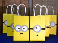 MINIONS FAVOR BAGS - Set of 12 Minion Inspired Party Bags, Minion Party, Despicable Me Party, Minion Birthday, Minion Party Bag, Minion Bob by CraftySistersFinds on Etsy https://www.etsy.com/listing/500895017/minions-favor-bags-set-of-12-minion
