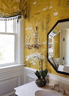 The Most Beautiful Powder Rooms Ever - Connecticut in Style - - Beautiful Powder Rooms! Even though it is the smallest room in your home, the powder room is one of the areas that can have a really big impact. Home Luxury, Powder Room Design, Interior Decorating, Interior Design, Bathroom Inspiration, Bathroom Ideas, Bathroom Interior, White Bathroom, Yellow Bathrooms