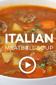 Italian Meatball Soup Italian Meatball Soup by Baker by Nature. This easy Italian Meatball Soup recipe is perfect for nights you want hearty comfort food fast! Easy Italian Meatballs, Italian Meatball Soup, Tasty Meatballs, Best Italian Meatball Recipe, Turkey Meatball Soup, Sausage Meatballs, Turkey Soup, Crockpot Recipes, Cooking Recipes