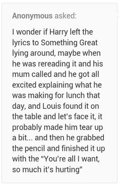 1D One Direction - Harry and Louis theory of the writing of Something Great lyrics || jfc