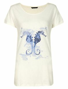White Mix Seahorse Print T-Shirt with Linen