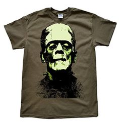 Stooble Mens Frankenstein! Olive T-Shirt Size XL @ niftywarehouse.com #NiftyWarehouse #Frankenstein #Halloween #Horror #HorrorMovies #ClassicHorror #Movies