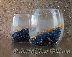 Geode theme Set of 2 hand painted decorated by PaintedGlassBiliana