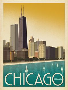 Chicago: Modern Skyline - This lakefront view of Chicago will add a clean, modern touch to any wall. Printed on gallery-grade paper, this lovely print is sure to bring back your favorite Chi-Town memories for years to come.