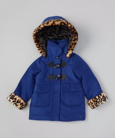 Love this Blue & Tan Leopard-Trim Hooded Duffel Coat - Toddler & Girls on #zulily! #zulilyfinds