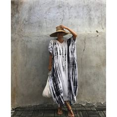 Dyed Summer Beach Poncho Beach Cover Up Holiday Dress ($29) ❤ liked on Polyvore featuring dresses, grey, women's clothing, beach kaftan, beach cover up, black and white poncho, kaftan cover up and summer poncho