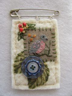 Stitch An Inch Spring Orni This is one of the designs finished as pin.i cut 2 pieces x of Warm & Natural batting for the ba. Fiber Art Jewelry, Textile Jewelry, Fabric Jewelry, Jewelry Art, Jewelry Design, Sewing Crafts, Sewing Projects, Fabric Brooch, Fabric Necklace