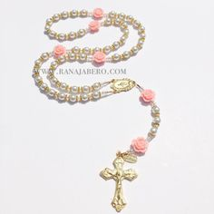Peachy Rose Pearl Rosary - Can be personalized!