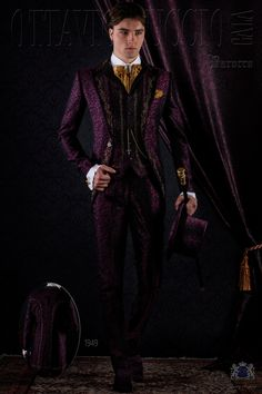 Baroque purple brocade frock coat with peak lapels and golden embroidered. Wedding suit 1949 Baroque Collection Ottavio Nuccio Gala.