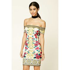 Forever21 Off-the-Shoulder Bodycon Dress ($25) ❤ liked on Polyvore featuring dresses, cream, long-sleeve floral dresses, off the shoulder dress, forever 21 dresses, bodycon dress and white bodycon dress