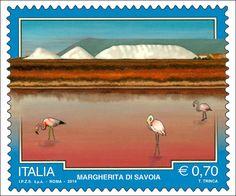 """Emissione di cinque francobolli ordinari appartenenti alla serie tematica """"il Patrimonio naturale e paesaggistico"""" dedicati al Turismo: Margherita di Savoia (BT)"""