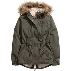 H&M Parka ($21) ❤ liked on Polyvore featuring outerwear, coats, jackets, coats & jackets, dkny hooded faux-fur-trim parka coat, h&m parka, faux fur trim coats, parka coat and zip coat