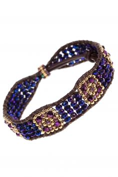 #purple & gold beaded leather bracelet I designed by miguel ases I NEWONE-SHOP.COM