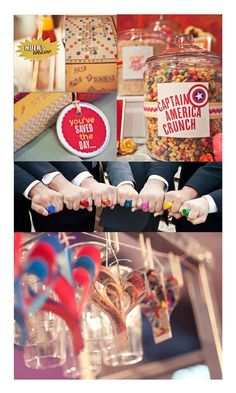 We love the idea of a superheroes wedding as a quirky wedding theme because there is no end to the fun ways you can bring this across in your wedding! Marvel Wedding Theme, Avengers Wedding, Comic Book Wedding, Lego Wedding, Quirky Wedding, Wedding Themes, Our Wedding, Dream Wedding, Wedding Ideas