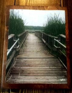 Weathered Fishing Pier Dock Cattails Nature by UniquePrimtiques