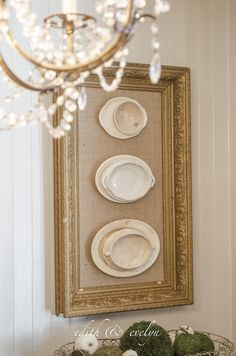 Framed Ironstone -  this is a clever way to decorate your space using cracked vintage ironstone, E6000 glue and an old gesso frame - via Edith and Evelyn Vintage