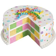 Nothing screams, ?Party? like this multi-colored checkerboard cake. Bright and pastel shades of dots and streamers make this a dessert for birthdays, showers or any occasion.