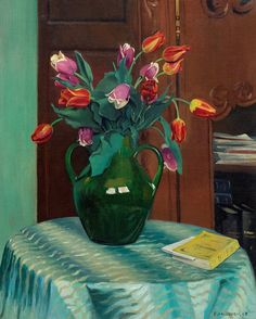 Félix Vallotton. Pink and red Tulips ('Tulipes roses et rouges'), 1912. Rembrandt, Red Tulips, Framed Prints, Poster Prints, Magazine Art, Heritage Image, Still Life, Oil On Canvas, Artwork