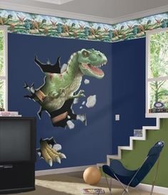 T-Rex Through the Wall Peel & Stick Wall Decal - Free Shipping at SensoryEdge.com - Dinosaur Wall Decals
