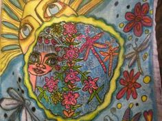 Morning Girl Hippie Art Peace Flag by DawnCollinsArt on Etsy