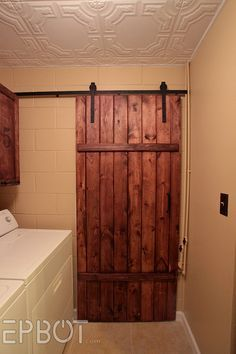 EPBOT: Make Your Own Sliding Barn Door - For Cheap! (to replace all the doors Bruce removed years ago) Diy Sliding Barn Door, Barn Doors, Sliding Doors, Diy Door, The Doors, Ideias Diy, Barn Door Hardware, Ace Hardware, Basement Remodeling