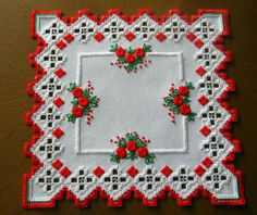 Doily in Hardanger and colored embroidery *red roses* 100%handmade & New