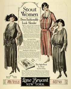 "Lane Bryant advertisement 1923 - clothes for ""stout"" women"
