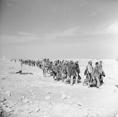 El Alamein 1942: Some of the first prisoners to be brought in from the battle. They include Germans of the 90th Light Division and Italians captured by Australians and the Highland Division respectively.