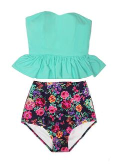 Mint Long Peplum Tankini Tankinis Top and Flora Retro High Waisted Waist Bottom Swimsuit Swimwear Swimsuits Bath suit suits set sets L XL