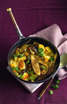 A warming vegetarian curry, which showcases two types of aubergine as well as a gorgeous (easy to find) Indian cheese called paneer.