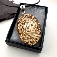 Wooden Pyrography Fairy Door with Cottage Garden Wood Pendant Necklace £17.95