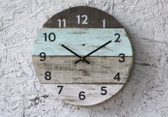 Round Clock. Reclaimed Wood wall clock. Pale sea foam Green. Pallet Wood. Beach House style...ReCycled wood...distressed...Coastal Decor by terrafirma79 on Etsy https://www.etsy.com/uk/listing/237802365/round-clock-reclaimed-wood-wall-clock