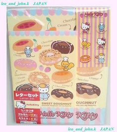 Hello Kitty letter set SWEET DOUGHNUT 2008 SANRIOTokyo Japan only kawaii sticker