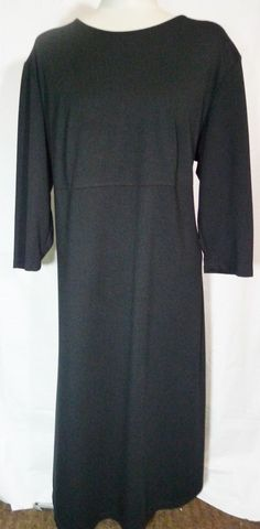 Womens Dress Plus size 1x 2x Maggie Barnes Black knit Full Length #MaggieBarnes #Maxi #WeartoWork