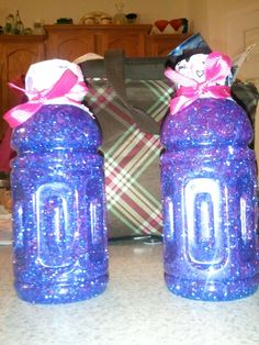 Calm down jars I made from glitter glue, glitter and hot water. I used gatorade bottles so the littlest can't  break it.