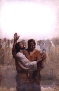 j kirk richards - Jesus being baptized by John the Baptist. Bible Pictures, Jesus Pictures, Jesus Pics, Lds Art, Bible Art, Scripture Study, Catholic Art, Religious Art, Arte Lds