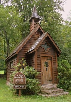"This tiny chapel is called ""St. Jude's Chapel of Hope."" It's located in the small, unincorporated community of Trust, which is near the town of Spring Creek in Madison County, NC. It sits on the corner where Hwy 63 and Hwy 209 connects. You can go inside for reflection and rest."