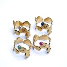 Fleur de Cactus Gold Filled rings with Emerald by sophiesimone, $185.00